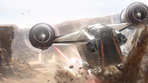 ArtStation Science Fiction Star Wars The Mandalorian Vehicle Artwork Star Wars Ships Dogfight 3200x1322 Wallpaper