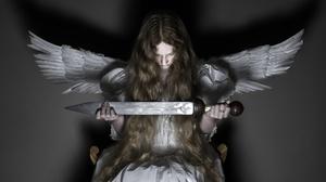 Studio Indoors Women Indoors Model Women Girls With Swords Wings Angel Long Hair Sword 2024x1282 Wallpaper