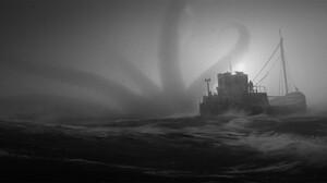 Manuel Grad Monochrome Kraken Ocean View Ship Silhouette 1920x800 Wallpaper