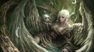 Angel Girl Short Hair Skull White Hair Wings Woman 2500x1833 Wallpaper