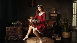 Dmitry Arhar Women Brunette Hairband Dress Teddy Bears Plush Toy Toys Red Clothing Socks Chair Suitc 1920x1280 Wallpaper