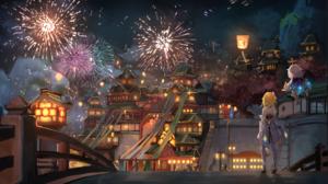 Anime Girls Fantasy City Genshin Impact Lumine Genshin Impact Paimon Genshin Impact Fireworks Game C 2500x1517 Wallpaper