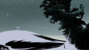 Li Ming Digital Art Abstract Landscape Crescent Moon Starry Night Birds Snow Shinto Stars 1920x946 Wallpaper