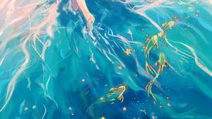 Anime Anime Girls Digital Art Artwork 2D Portrait Display Vertical Yuumei Beach Barefoot Dress Sun D 1350x2700 Wallpaper
