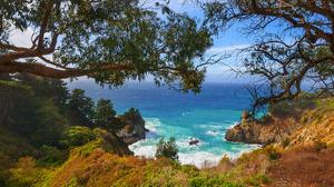 Big Sur California Cliff Coastline Earth Ocean Rock Sea Tree 2048x1365 wallpaper