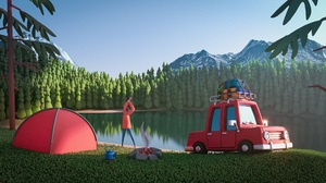3D Forest Car River Mountains Render Men Artwork Nature Trees Red Cars Tent Green Lake Outdoors Cart 5000x2812 Wallpaper