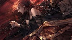 Nixeu Artwork Women Sleeping Bed Redhead Skull 3500x2315 wallpaper