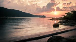 Beach Island Pier Sand Shore Sunset 4000x2666 wallpaper