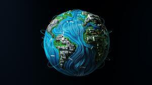 Earth Circuit Circuit Boards Wires PCB Continents Atlantic Ocean 3D Artwork Lightfarm Studios 2560x1440 wallpaper