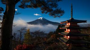 Nature Landscape Japan Pagoda Mountains Mount Fuji Trees 3000x1688 Wallpaper