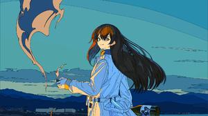 Anime Cogecha Artwork Anime Girls Beach Fire Smoke 2000x3684 Wallpaper