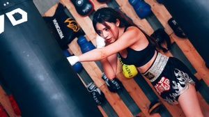 Asian Black Hair Boxing Girl Lipstick Shorts 2048x1365 Wallpaper