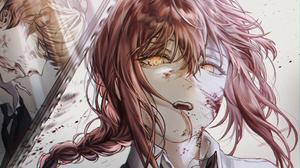 Chainsaw Man Makima Chainsaw Man Anime Glowing Eyes Anime Girls Anime Boys Yellow Eyes 2136x1775 Wallpaper