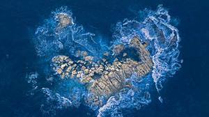 Australia Rock Waves Love Sea Heart Aerial View 5384x3029 Wallpaper