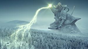 Forest Giant Lightning Samurai Warrior Winter 2937x1350 Wallpaper