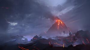 Digital Art Science Fiction Artwork Planet Landscape Volcano Sky 3000x1500 Wallpaper