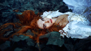 Redhead Freckles Leaf Brown Eyes Lying Down White Dress Girl Woman 2048x1365 Wallpaper