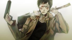 Anime Axe Bandage Black Hair Blood Cigarette Coat Gun One Punch Man Pistol Red Eyes Short Hair Weapo 2164x1350 Wallpaper