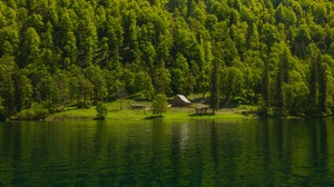Forest Water Green Reflection Trees Mountains House River Landscape Nature Hills 5616x3744 Wallpaper