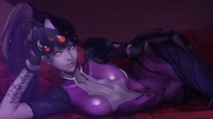 Overwatch Widowmaker Overwatch Tattoo Visors Purple Skin Purple Hair Yellow Eyes Video Game Girls Vi 3098x1784 Wallpaper