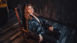 Women Model Chair Sitting Looking At Viewer Women Indoors Grigoriy Lifin 1920x1280 wallpaper