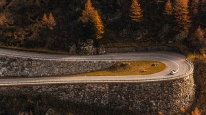 Forest Fall Road Car Mountain Pass Mountains Trees Stone Landscape Switzerland Pine Trees 5616x3744 wallpaper