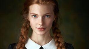 Daria Milky Women Redhead Blue Eyes Braids 2048x1536 wallpaper
