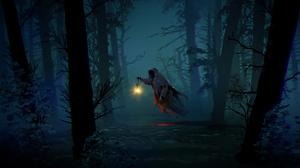 Cloak Forest Ghost Lantern Night 3784x2160 wallpaper