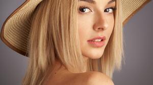 Alexander Vinogradov Women Hat Blonde Long Hair Straight Hair Looking At Viewer Bare Shoulders Blue  1365x2048 wallpaper