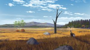 Deer Sky Tree 3508x2139 Wallpaper