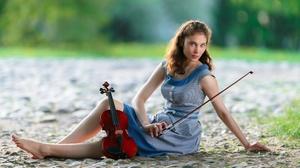 Women Long Hair Women Outdoors Model Brunette Musician Violin Depth Of Field Barefoot Sitting Musica 4000x2719 Wallpaper