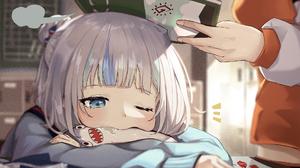 Anime Girls Gawr Gura Virtual Youtuber Blue Eyes One Eye Closed Grey Hair Saliva Sleepy Hololive 1920x1080 Wallpaper