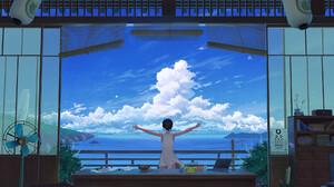 Summer Clouds LoFi Digital Art Artwork Asian Japanese Pikachu 1920x1277 Wallpaper
