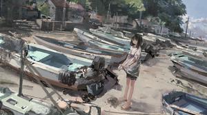 Beach Boat Girl 4093x2409 Wallpaper