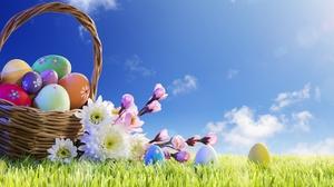 Basket Easter Egg Flower Grass 6000x4000 Wallpaper