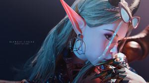 Tian Zi Digital Art Artwork Render CGi Face Closeup Shades Pointy Ears 1920x1080 Wallpaper