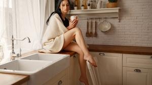 Alina Kolesnikova Ivan Kovalyov Women Black Hair Barefoot 2560x1707 wallpaper