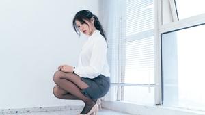 Women Model Chinese Model Women Indoors Heels Red Lipstick Brunette Dark Hair Asian 1920x1280 Wallpaper
