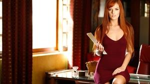 Women Redhead Long Hair Women Indoors 3000x2000 Wallpaper