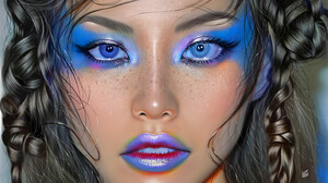 Ya Ar Vurdem Makeup Looking At Viewer Women Open Mouth Digital Art Portrait Digital Painting Artwork 3840x4608 wallpaper