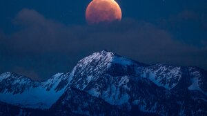 Landscape Nature Moon Clouds Mountains Snowy Mountain Portrait Display 1638x2048 Wallpaper