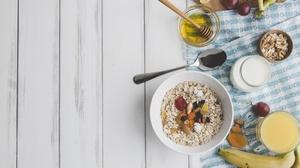 Banana Breakfast Food Fruit Honey Milk Still Life 2560x1600 Wallpaper