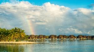 Tropical Rainbow Sky Cloud Palm Tree Bungalow 5000x3048 Wallpaper