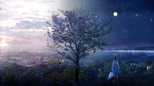 Building Cloud Girl Moon Raincoat Sky Sunbeam Sunrise Tree Umbrella Water 2400x1307 Wallpaper