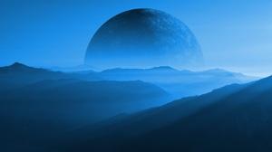 Mountains 3D Render Planet Moon Science Fiction Blue Mist Landscape 6000x3375 Wallpaper