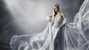 Blonde Earrings Girl Long Hair Mood White Dress Woman 5500x4311 Wallpaper