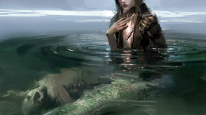 Fantasy Art Fantasy Girl Mermaids Creature In Water Corpse Looking At Viewer Dark Hair Water Ripples 1920x1508 Wallpaper