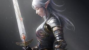 Artwork Fantasy Art Elves Elf Ears Sword Armor White Hair Women Girls With Swords Weapon Pointy Ears 2048x2048 Wallpaper