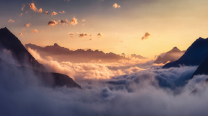 Clouds Sunset Mountains Landscape Photography Nature Outdoors 1850x800 Wallpaper