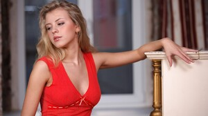 Long Hair Blonde Red Dress Women Model Women Indoors 2048x1365 Wallpaper